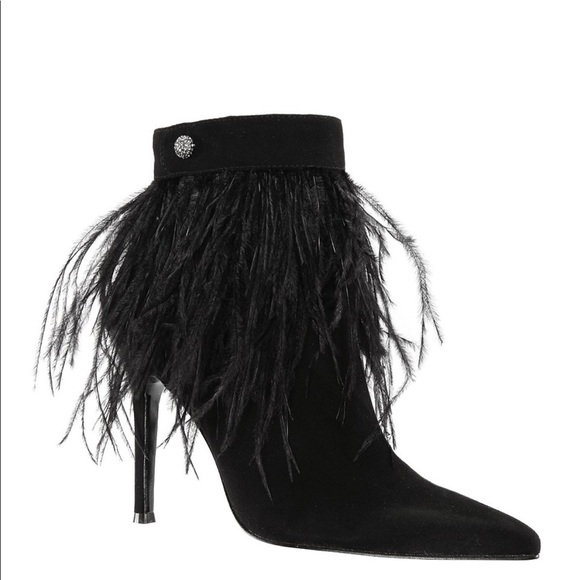 e0c0fd33ae77b From Nina, Danella Suede Feather Dress Booties NWT